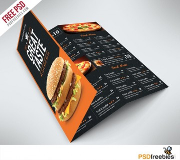 003 Unbelievable Tri Fold Menu Template Free Example  Tri-fold Restaurant Food Psd Wedding Brochure Cafe Download360