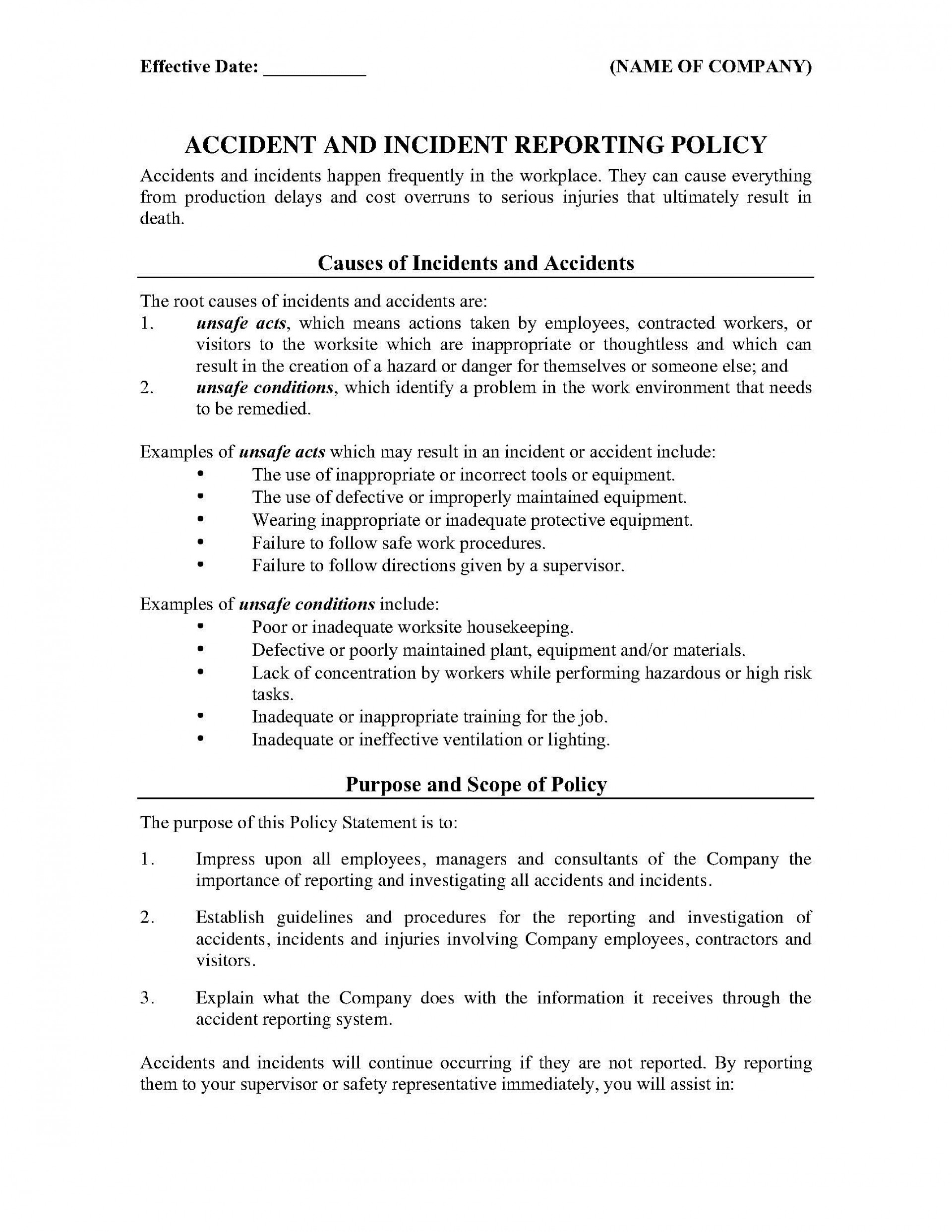 003 Unbelievable Workplace Incident Report Template Ontario Concept  Form1920