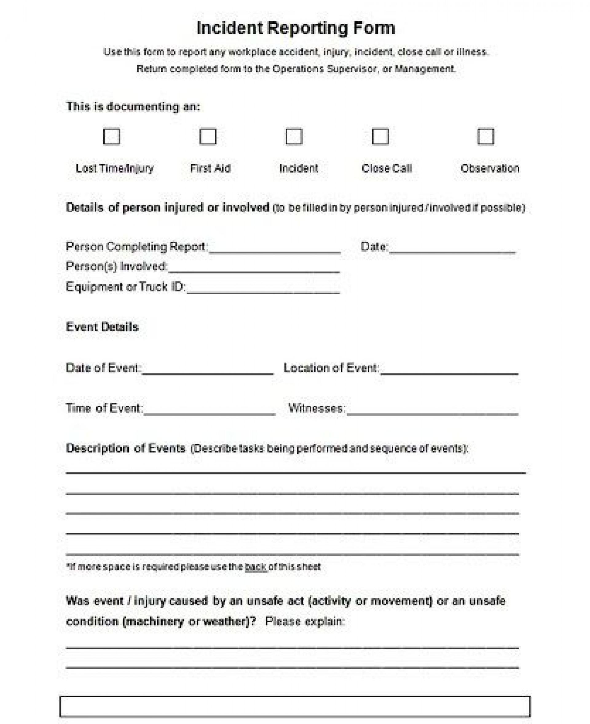 003 Unforgettable Accident Report Form Template Picture  Templates Free Ireland Hse1920