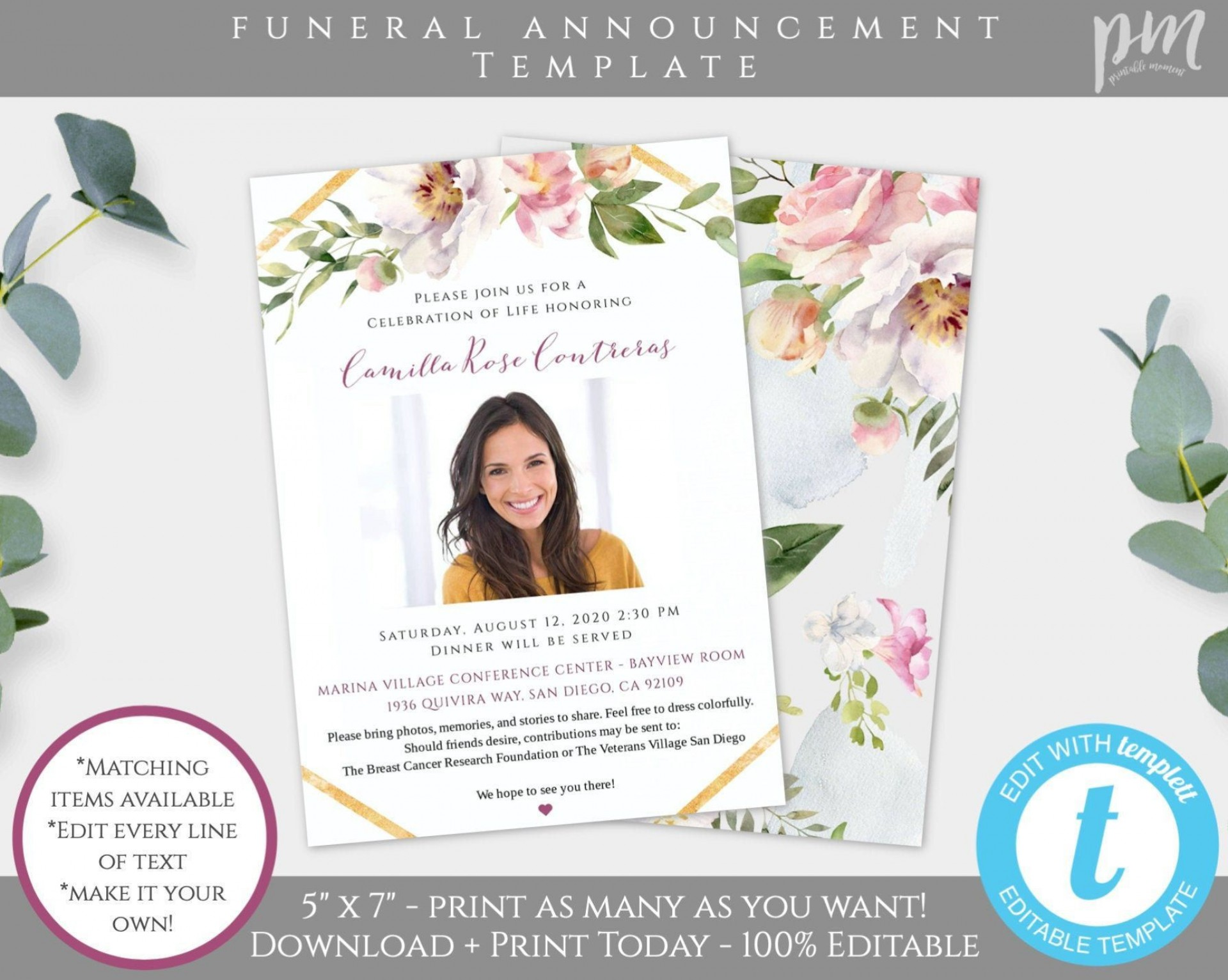 003 Unforgettable Celebration Of Life Template Free Download High Def  Invitation1920