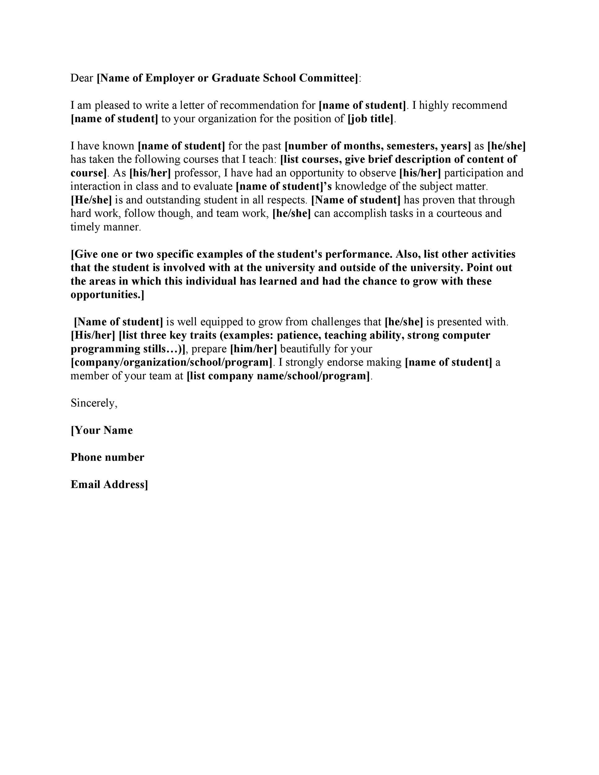 003 Unforgettable Example Of Letter Recommendation For Graduate School From Employer Sample  Pdf GradFull