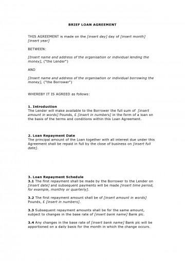 003 Unforgettable Family Loan Agreement Template Uk Free Idea 360