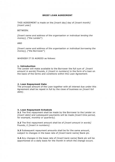 003 Unforgettable Family Loan Agreement Template Uk Free Idea 480