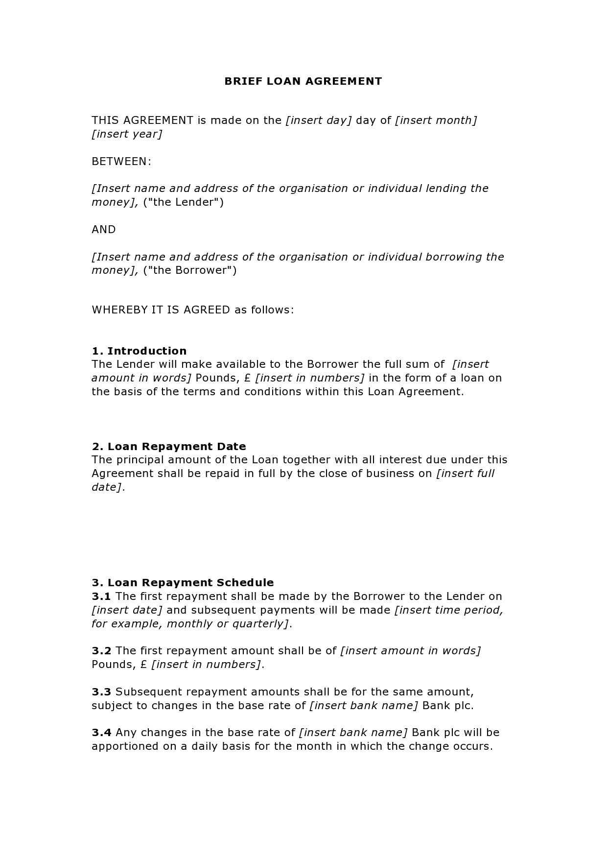003 Unforgettable Family Loan Agreement Template Uk Free Idea Full