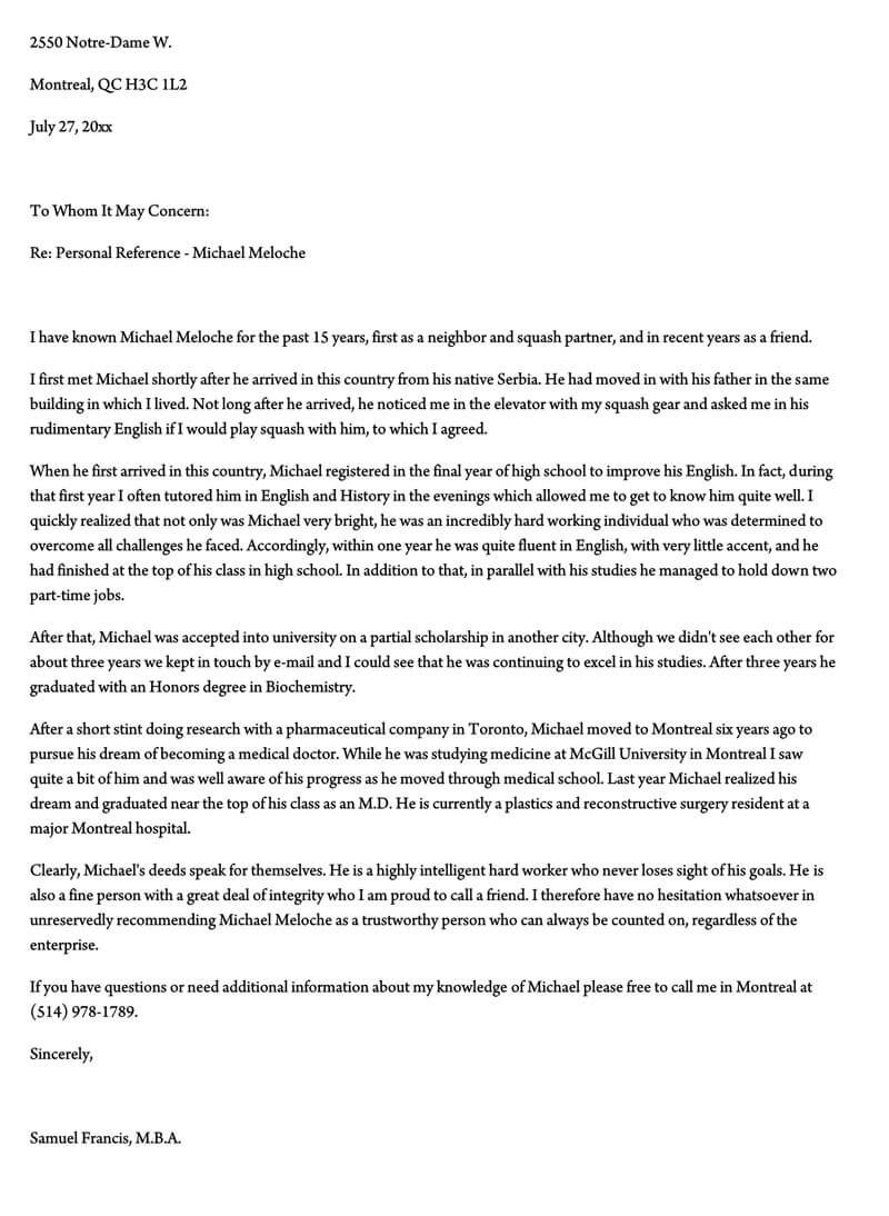 003 Unforgettable Free Reference Letter Template For Employment Example  WordFull