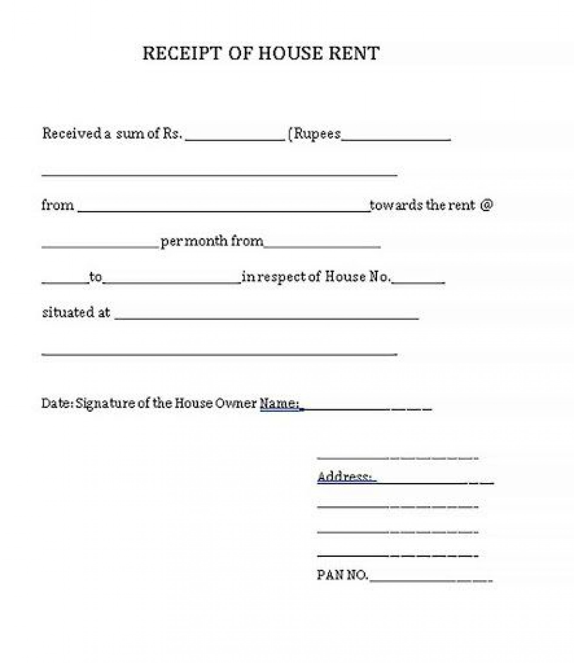 003 Unforgettable Rent Payment Receipt Template Sample  Excel Free1920