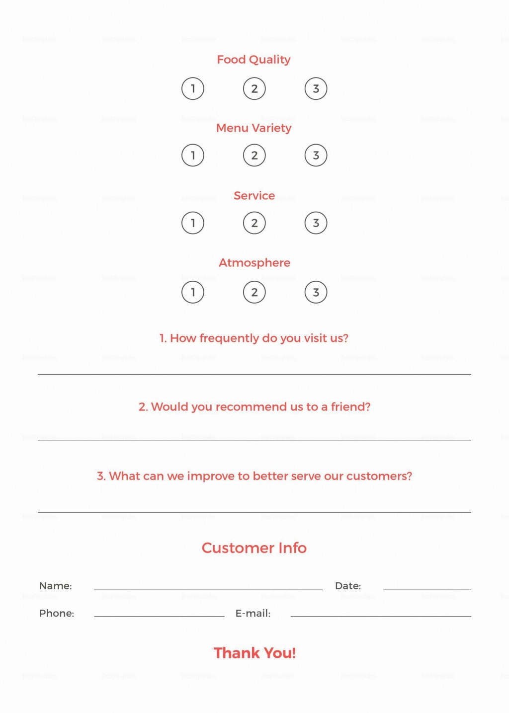 003 Unforgettable Restaurant Customer Comment Card Template Sample  For Word FreeLarge