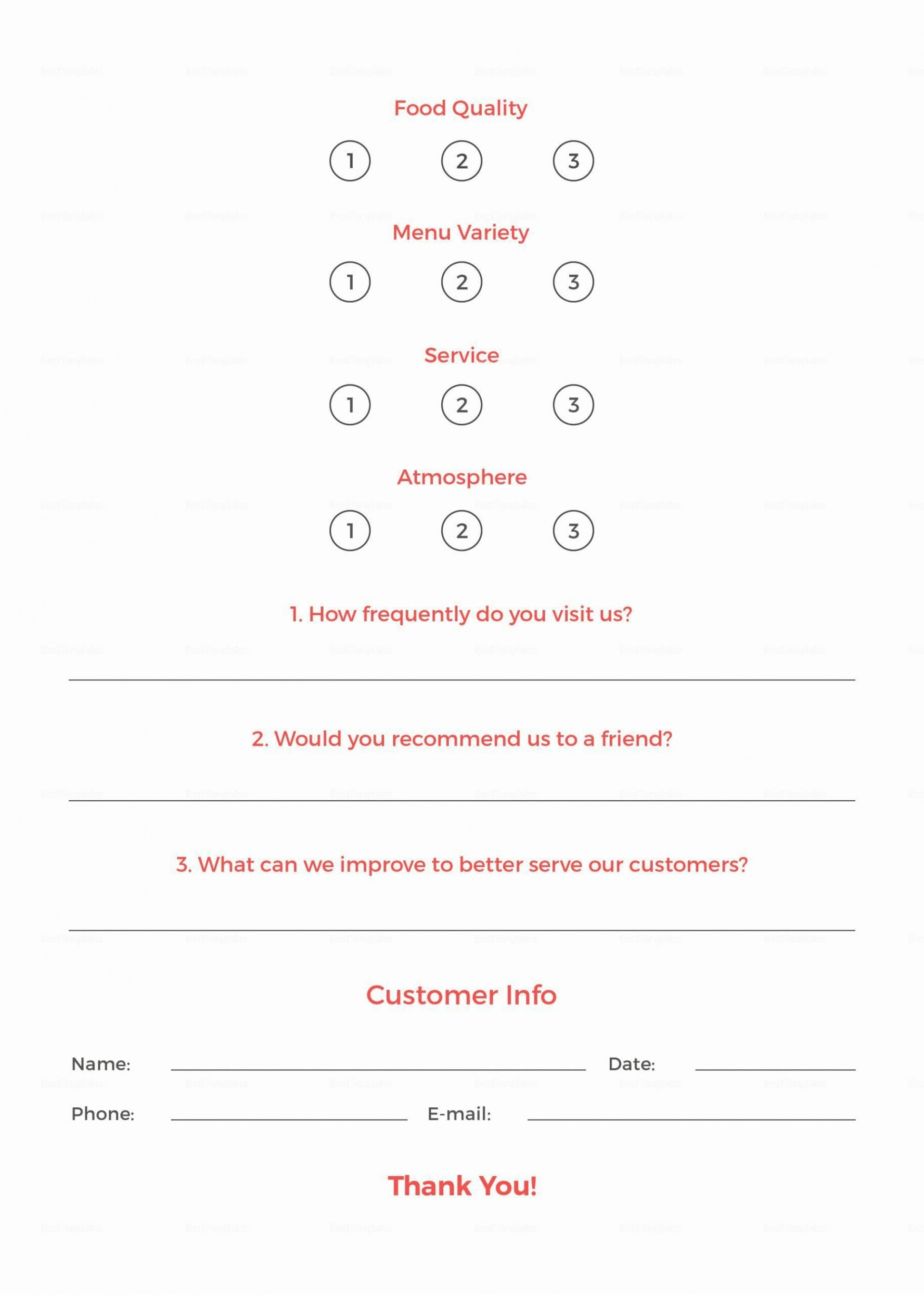 003 Unforgettable Restaurant Customer Comment Card Template Sample  For Word Free1920