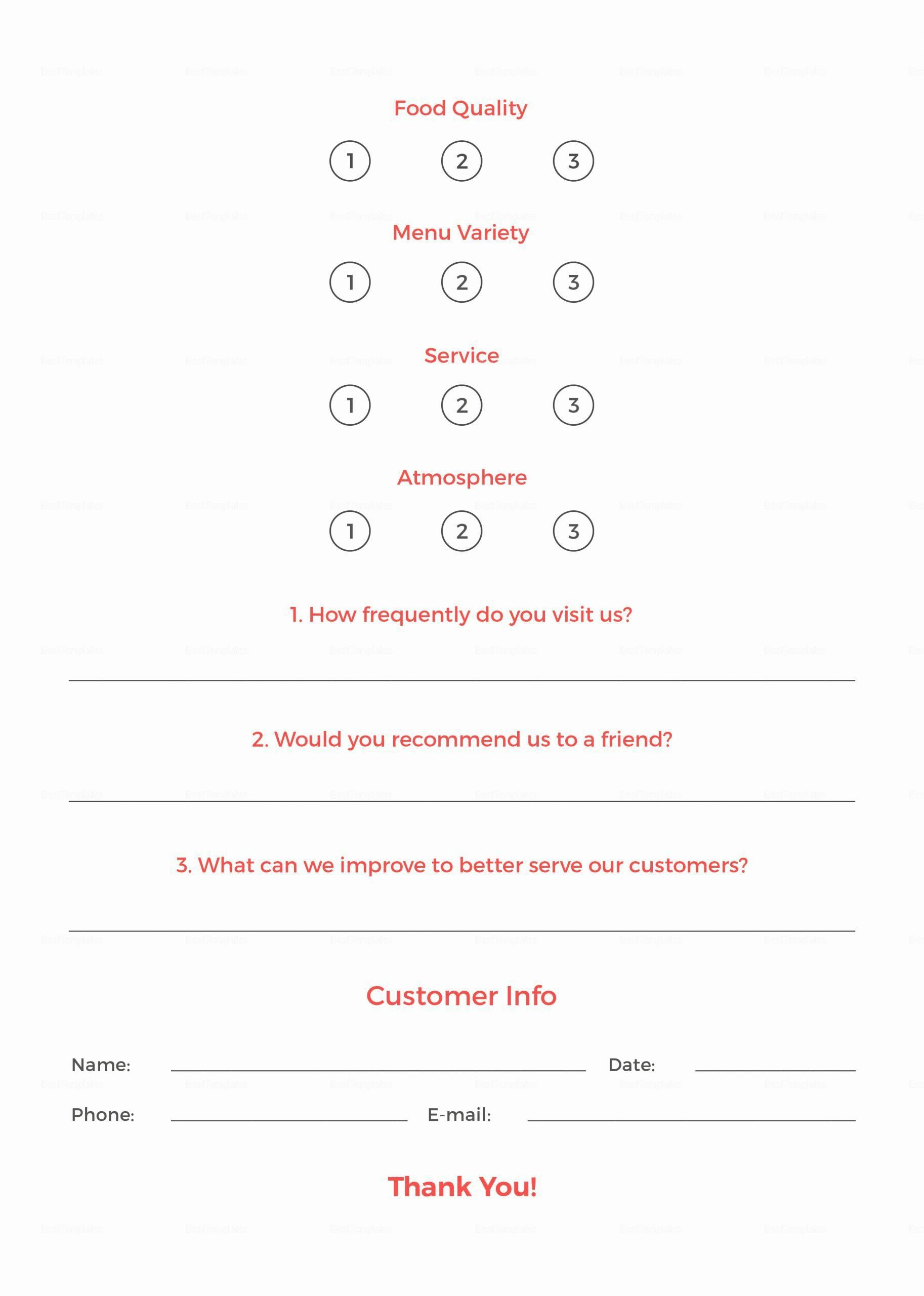 003 Unforgettable Restaurant Customer Comment Card Template Sample  For Word FreeFull