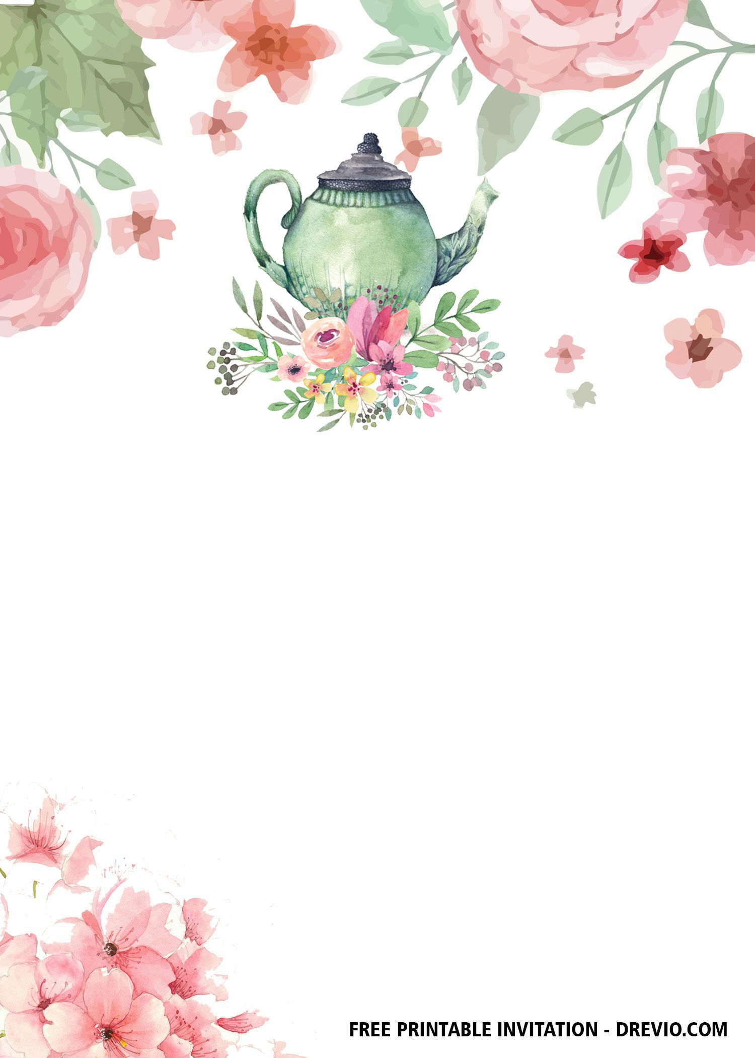 003 Unforgettable Tea Party Invitation Template Sample  Templates High Free Download Bridal ShowerFull