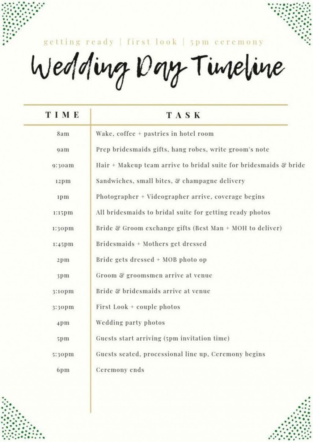 003 Unforgettable Wedding Day Schedule Template High Definition  Excel Editable Timeline Free WordLarge