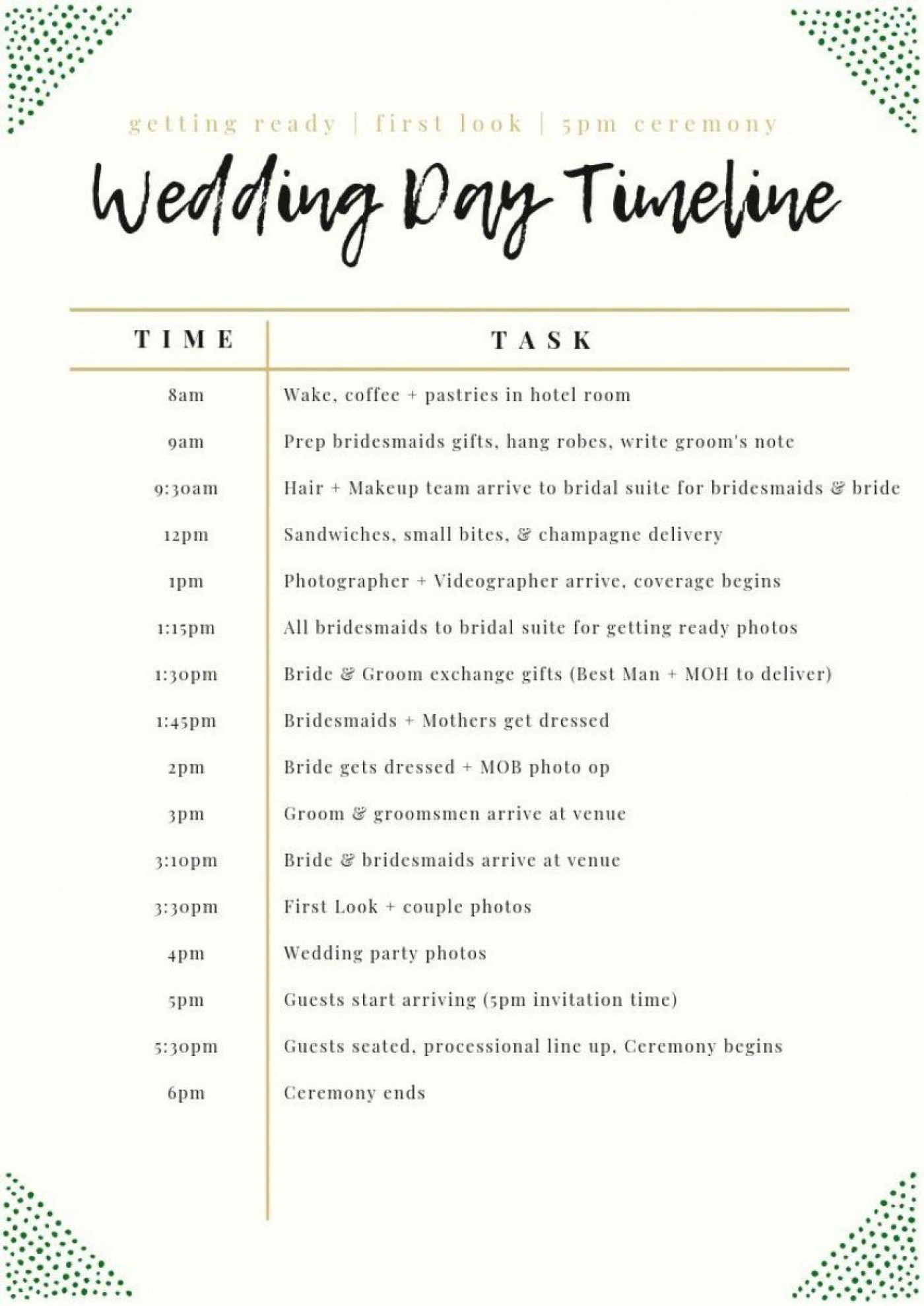 003 Unforgettable Wedding Day Schedule Template High Definition  Excel Editable Timeline Free Word1400