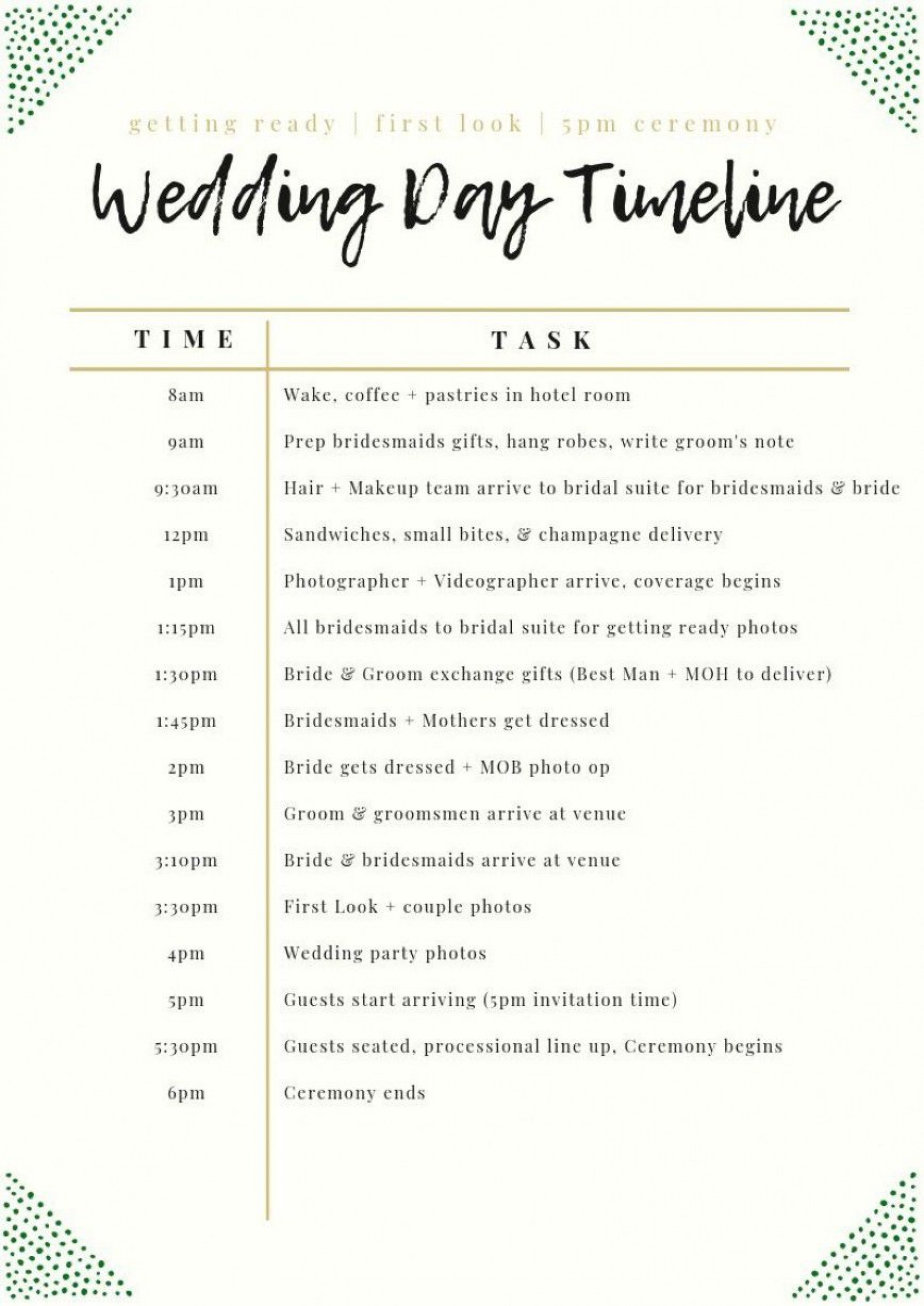 003 Unforgettable Wedding Day Schedule Template High Definition  Excel Editable Timeline Free Word1920