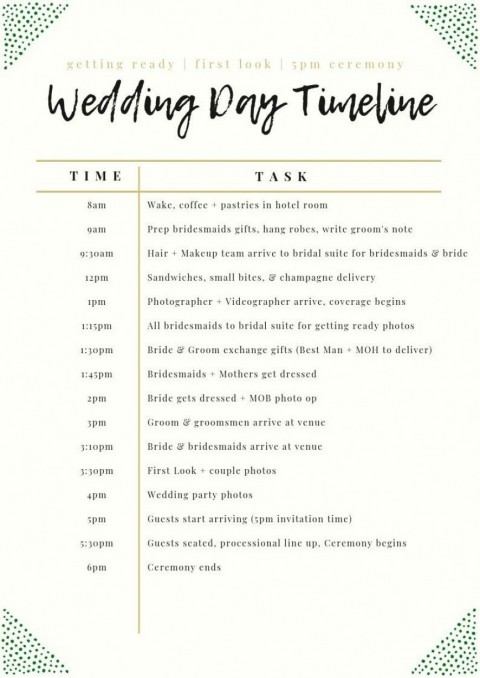 003 Unforgettable Wedding Day Schedule Template High Definition  Excel Editable Timeline Free Word480