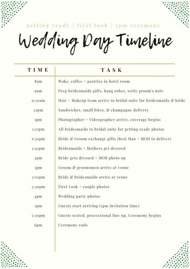 003 Unforgettable Wedding Day Schedule Template High Definition  Excel Editable Timeline Free Word728