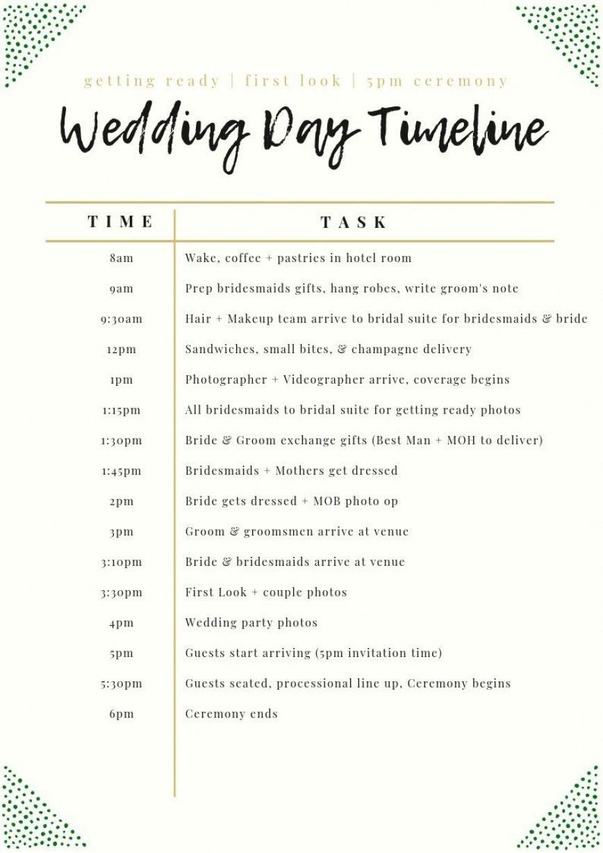 003 Unforgettable Wedding Day Schedule Template High Definition  Excel Editable Timeline Free Word868