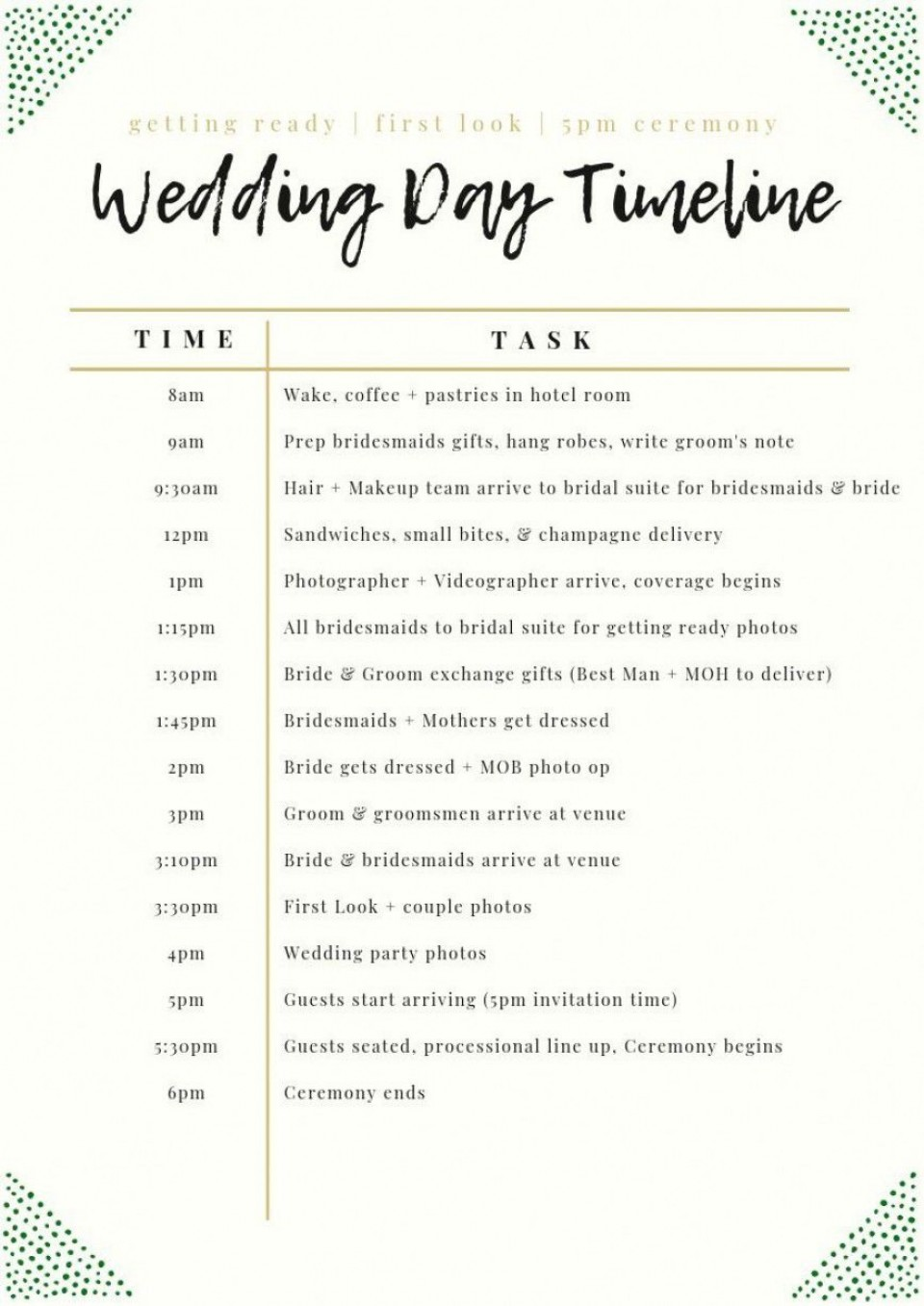 003 Unforgettable Wedding Day Schedule Template High Definition  Excel Editable Timeline Free Word960
