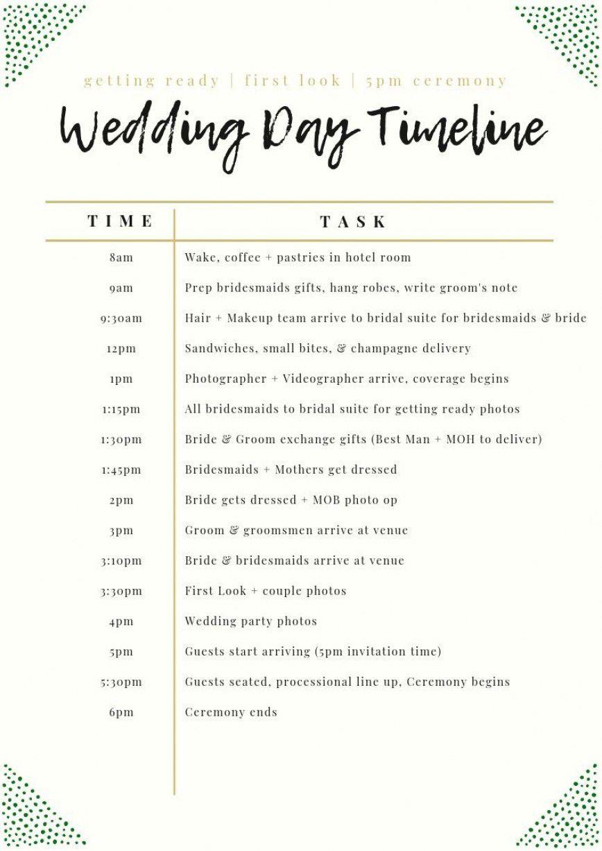 003 Unforgettable Wedding Day Schedule Template High Definition  Excel Editable Timeline Free WordFull