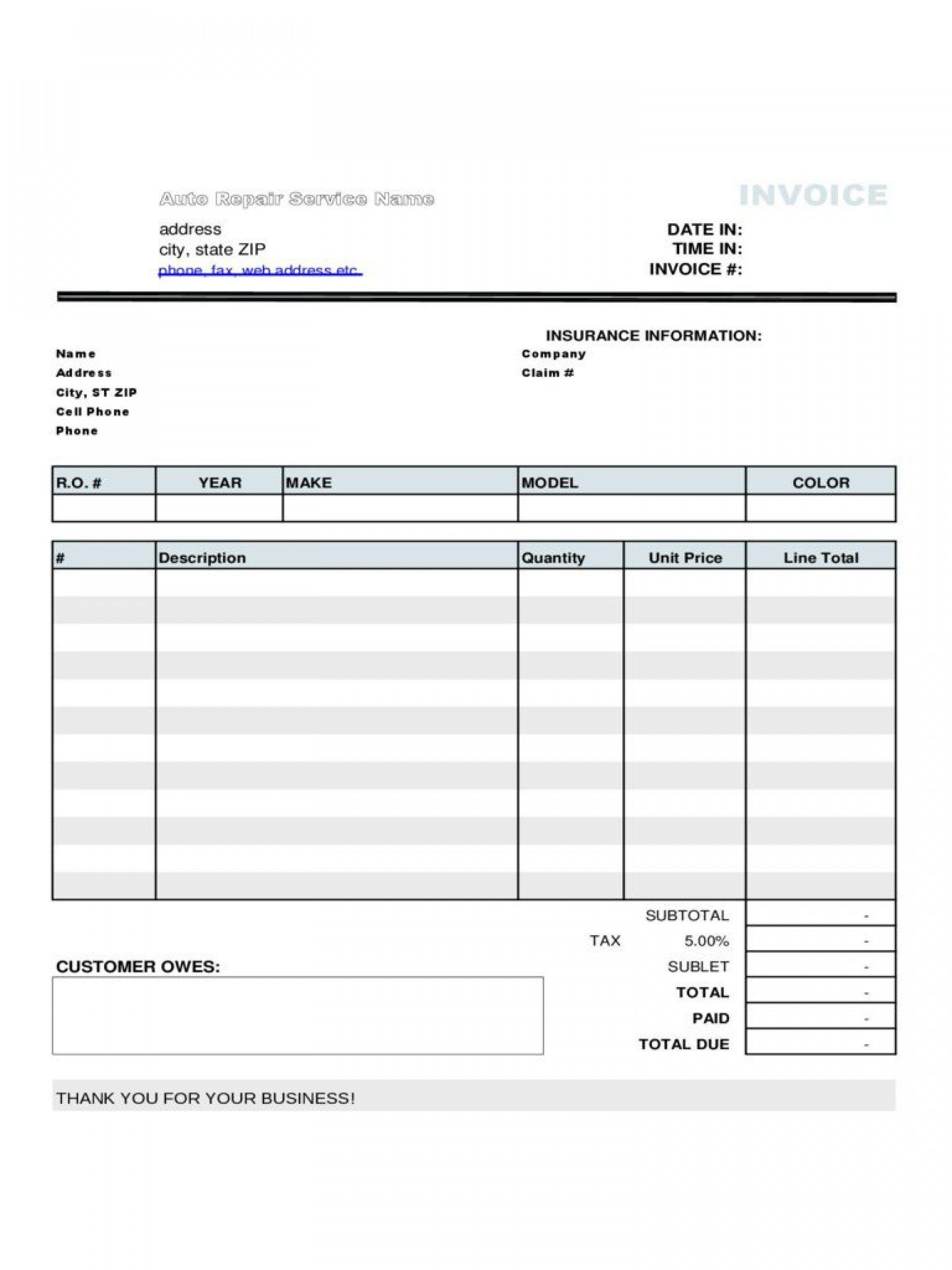 003 Unique Auto Repair Invoice Template Free Image  Excel Printable PdfFull