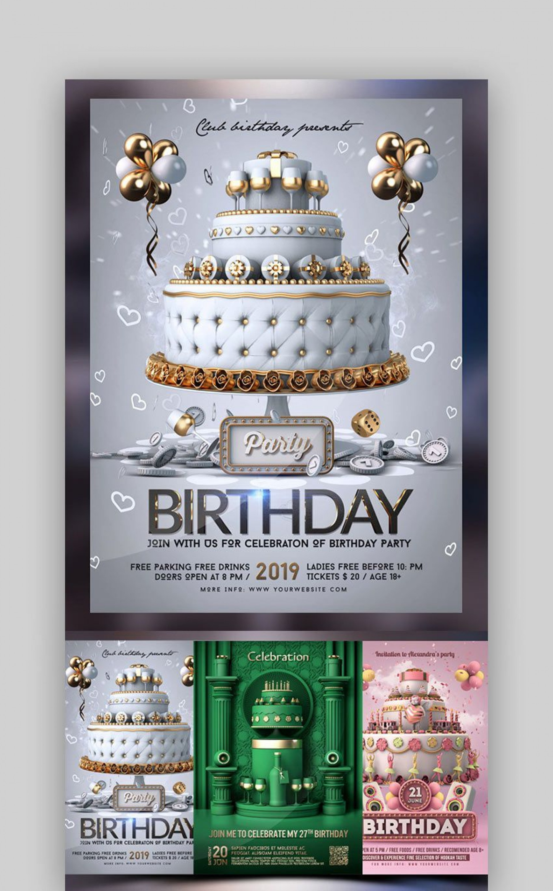 003 Unique Birthday Party Invitation Flyer Template Free Download Image 1920