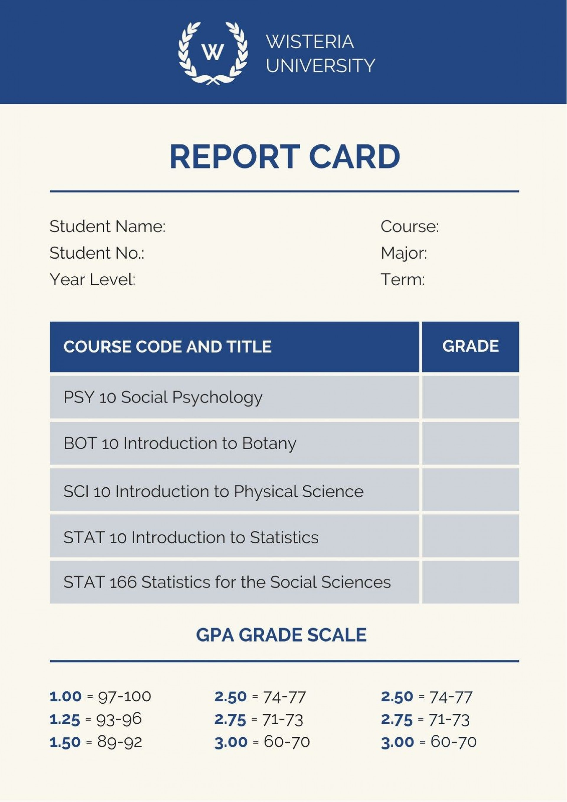 003 Unique College Report Card Template Example  Free Fake1920
