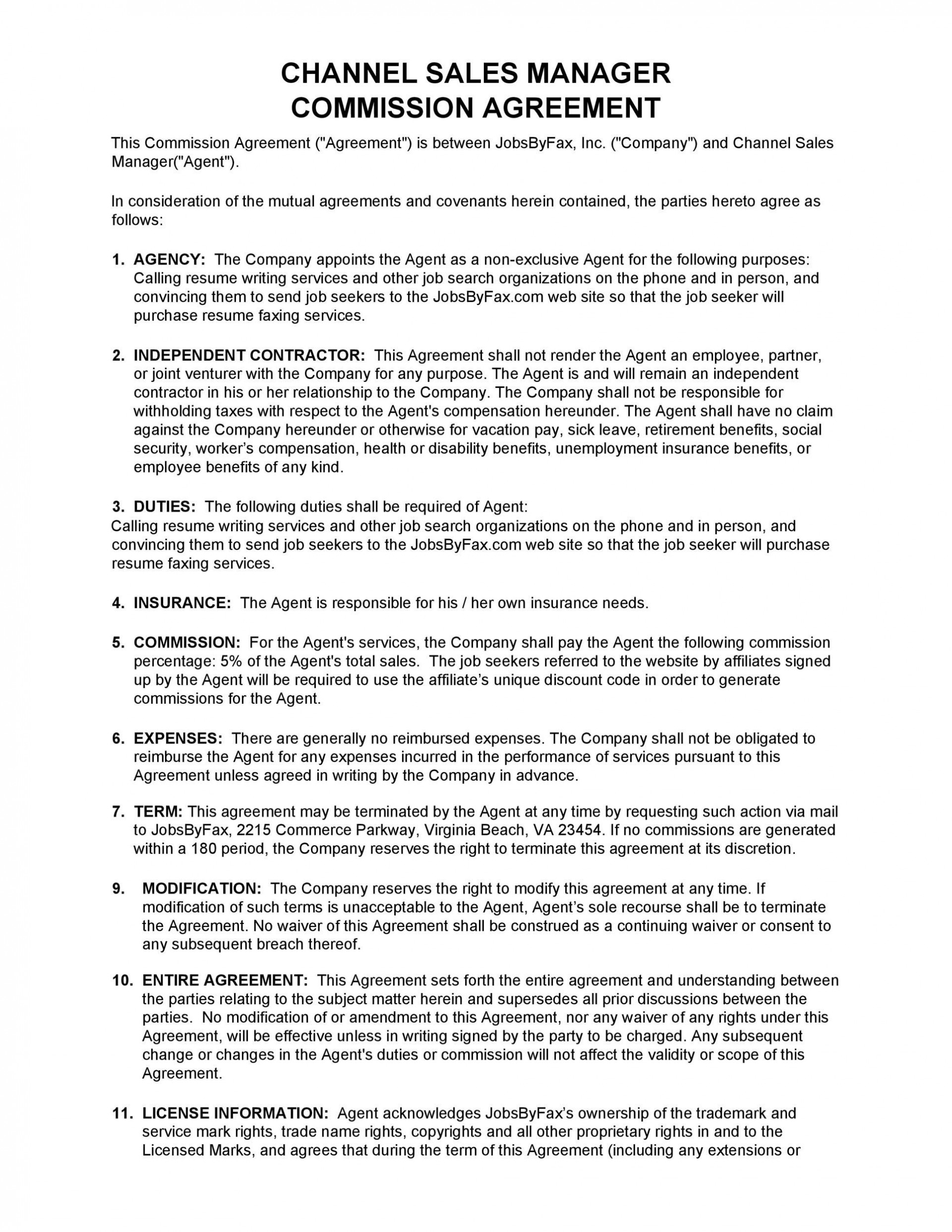 003 Unique Commission Sale Agreement Template Free High Definition  Word International1920