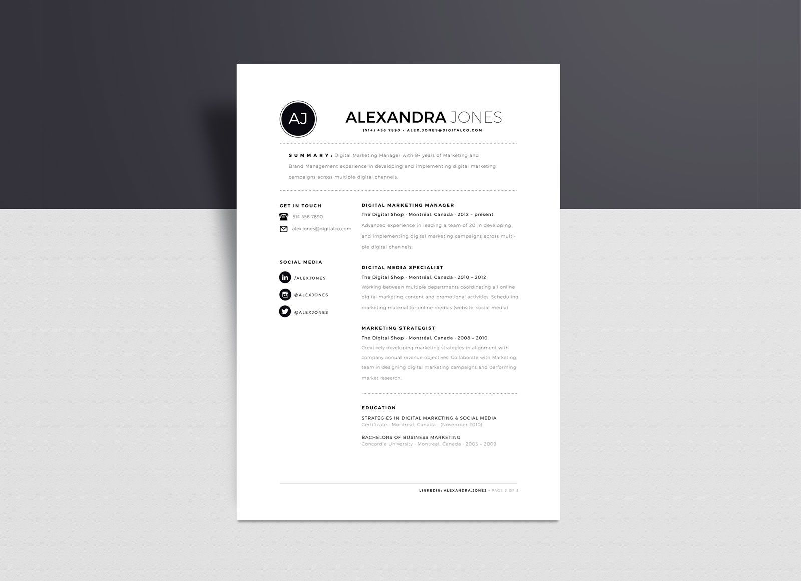 003 Unique Cv Template Free Word 2018 High Def  Download ModernFull