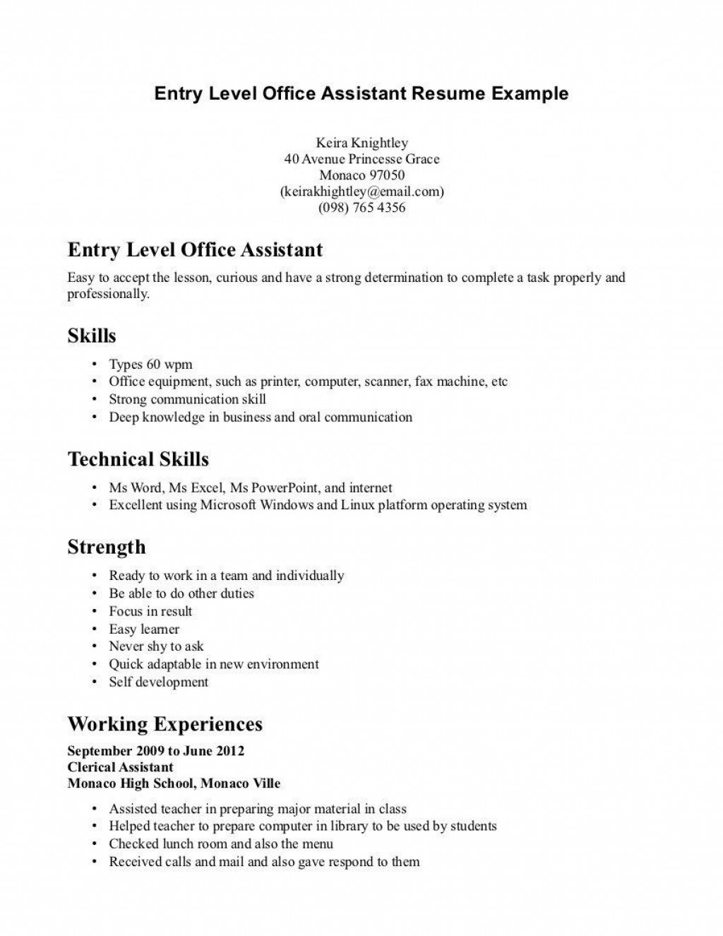 003 Unique Entry Level Resume Template Word Inspiration  Free ForLarge