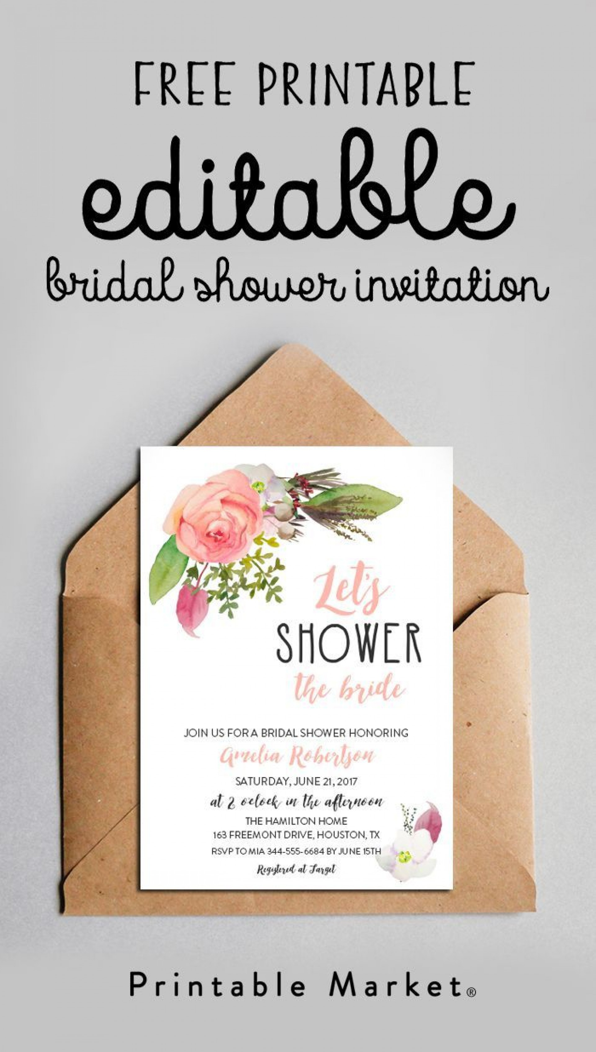 003 Unique Free Couple Shower Invitation Template Download Picture 1920