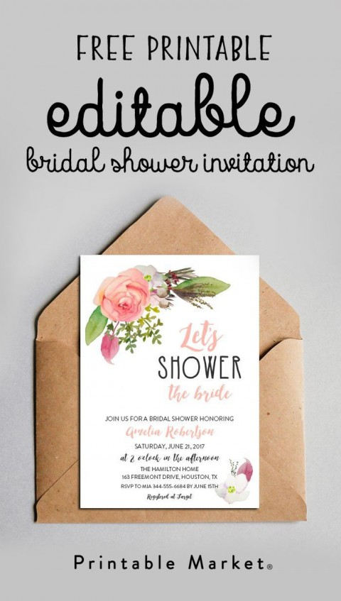003 Unique Free Couple Shower Invitation Template Download Picture 480