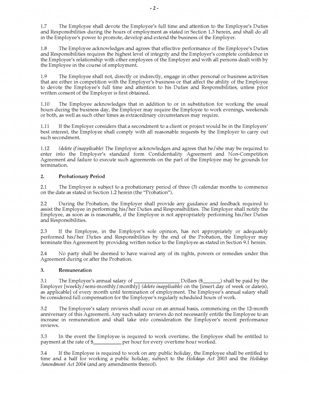 003 Unique Free Employment Agreement Template Nz Picture Large