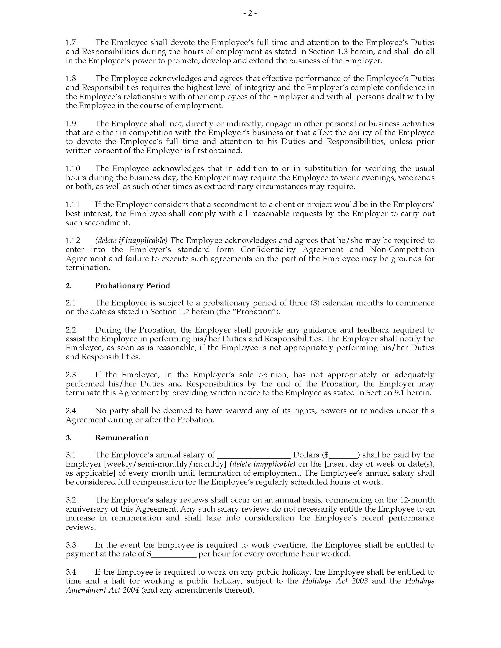 003 Unique Free Employment Agreement Template Nz Picture Full