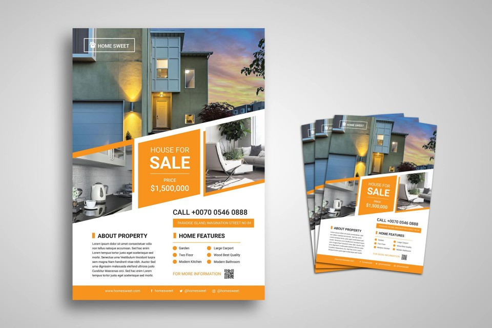 003 Unique House For Sale Flyer Template Highest Quality  Free Real Estate Example By Owner960