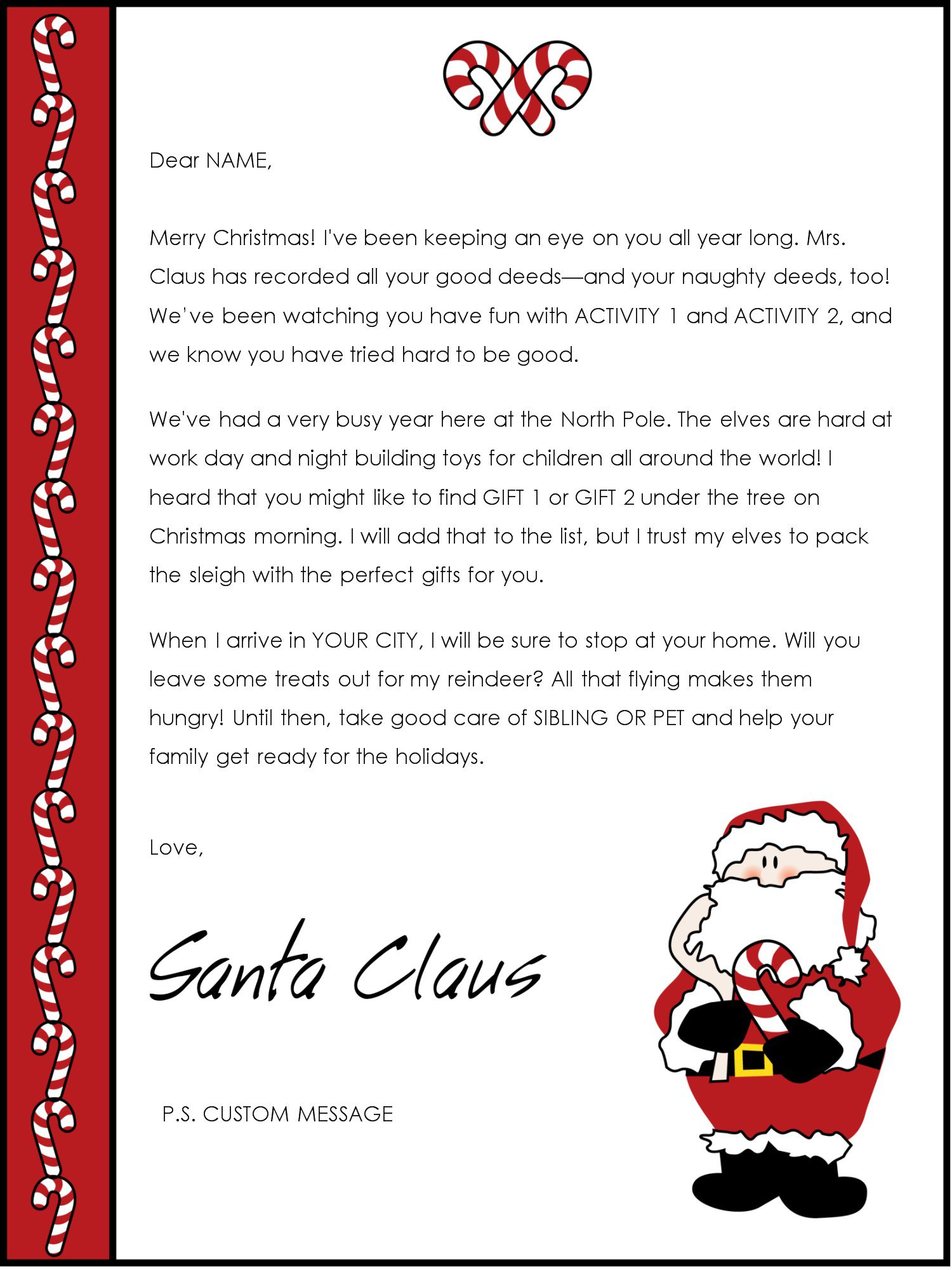 003 Unique Letter From Santa Template Highest Clarity  Free Printable Word Doc UkFull