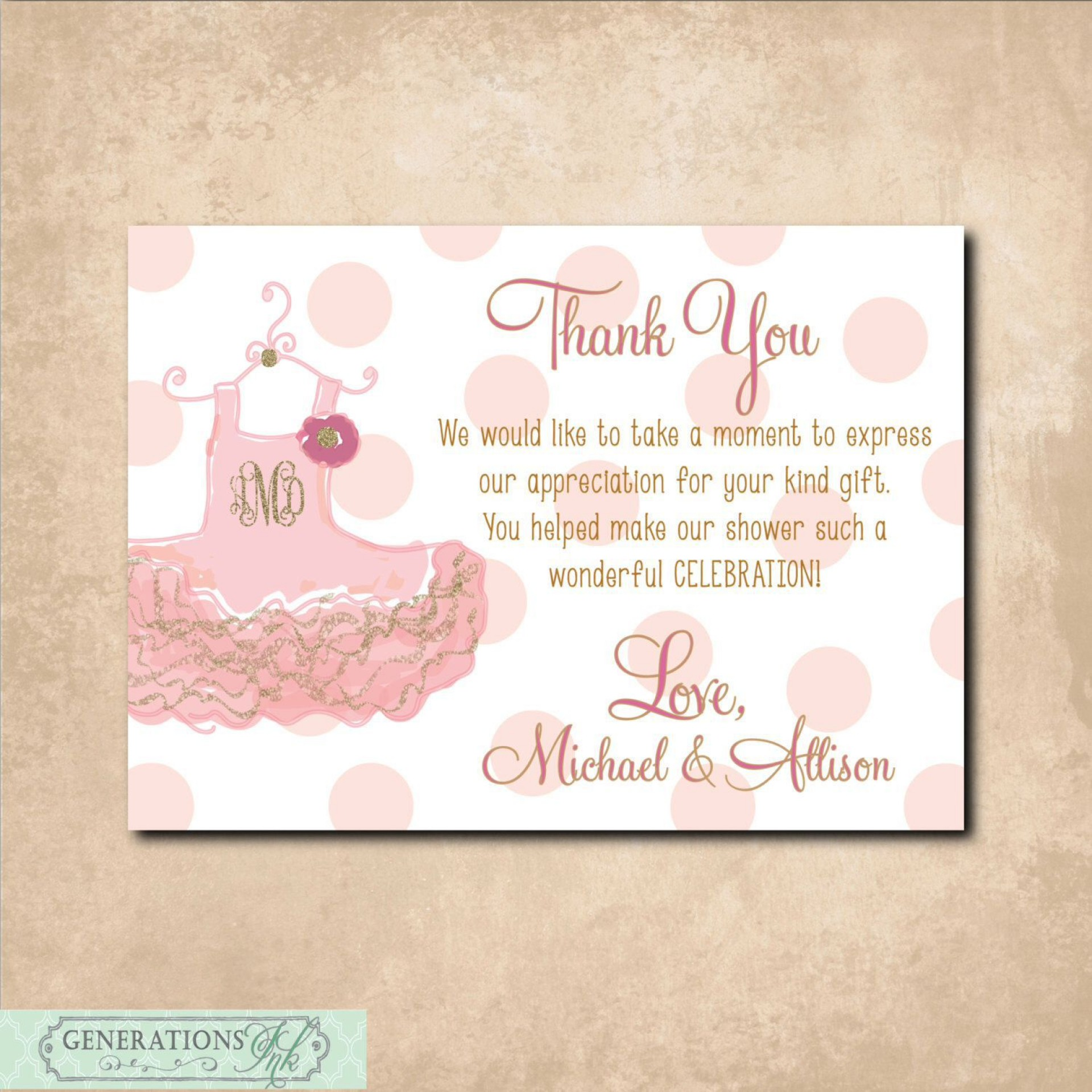 003 Unique Thank You Note Template For Baby Shower Gift Picture  Card Letter Sample1920