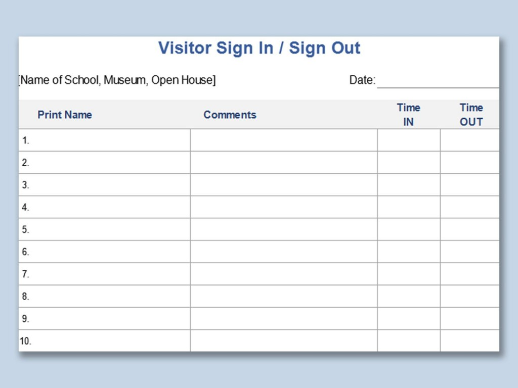 003 Unique Visitor Sign In Sheet Template Printable Picture  FreeLarge
