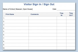 003 Unique Visitor Sign In Sheet Template Printable Picture  Free