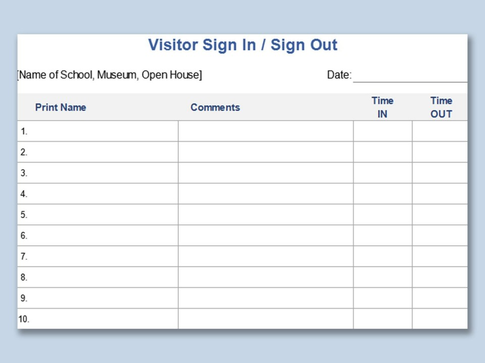 003 Unique Visitor Sign In Sheet Template Printable Picture  Free Word960