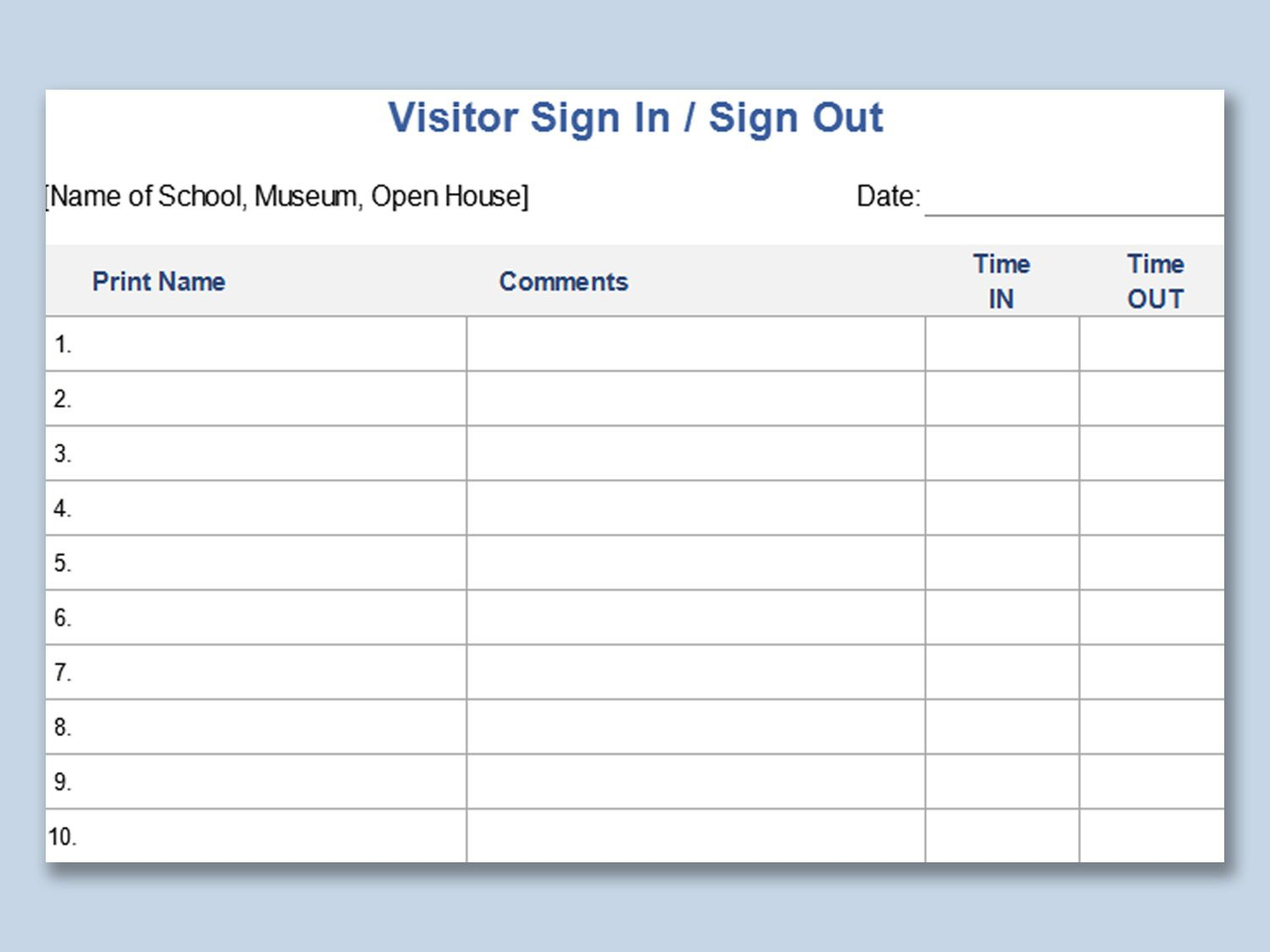 003 Unique Visitor Sign In Sheet Template Printable Picture  FreeFull