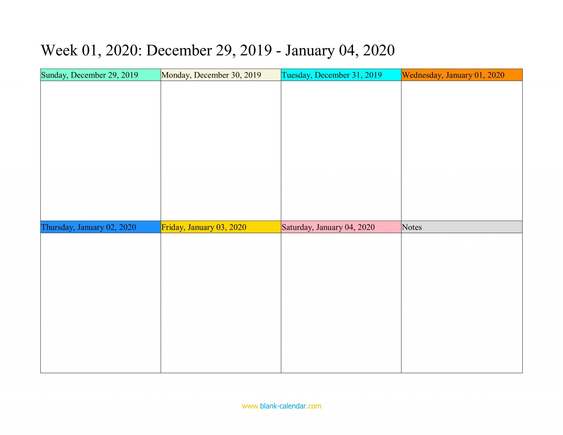 003 Unique Weekly Calendar 2020 Template Image  Appointment Blank1920
