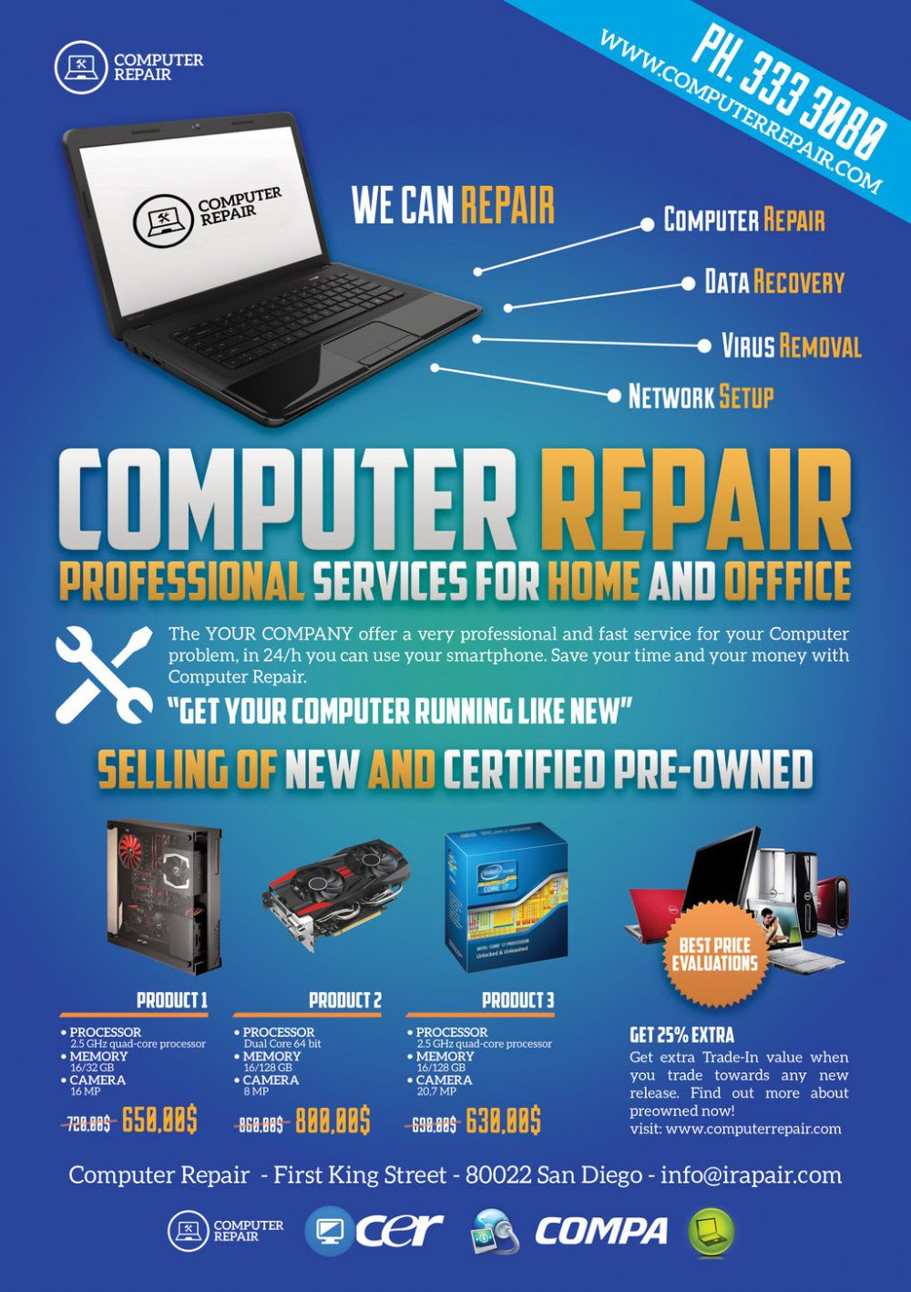 003 Unusual Computer Repair Flyer Template Highest Quality  Word Busines FreeFull