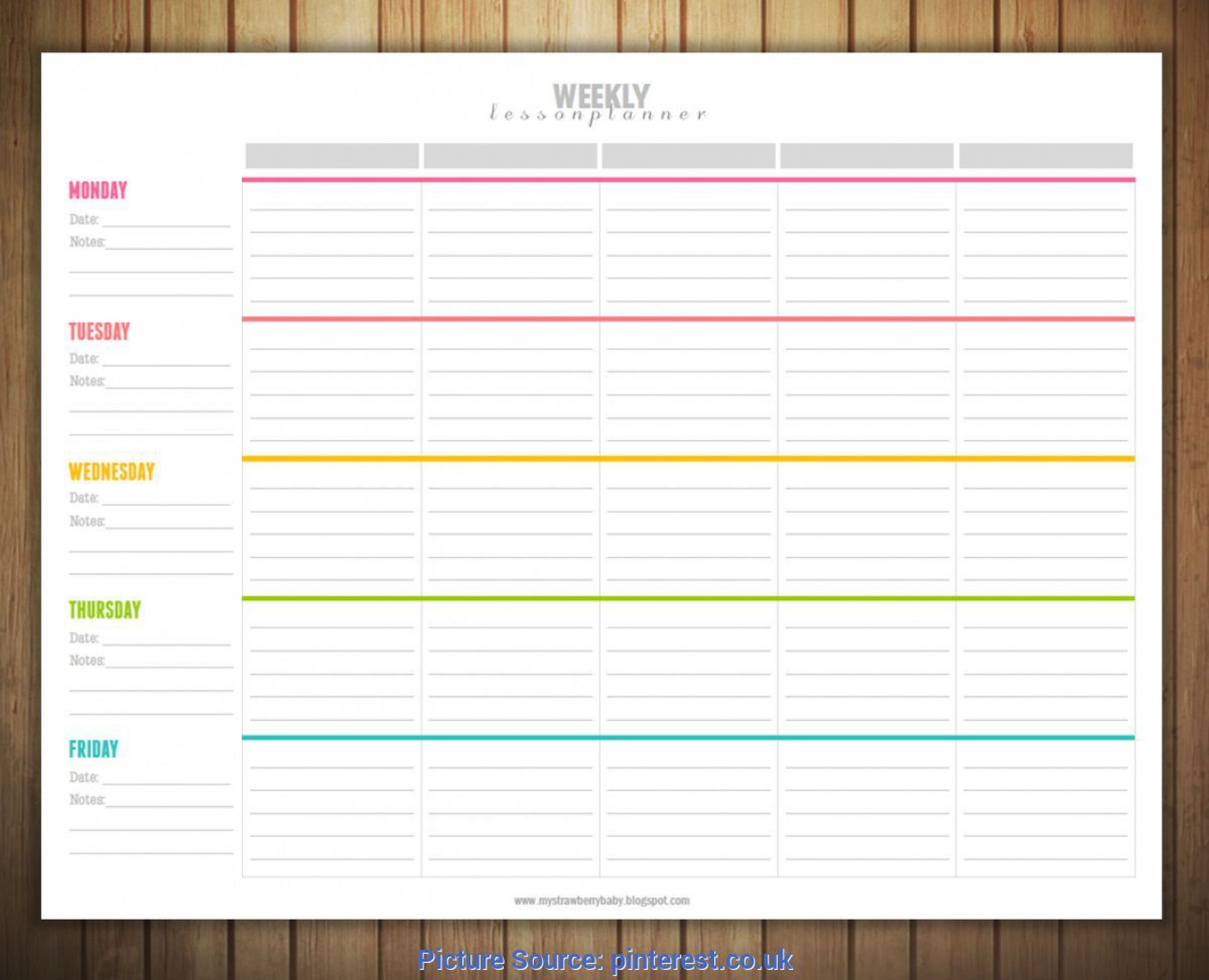 003 Unusual Free Blank Lesson Plan Template Pdf Idea  Weekly Editable1920