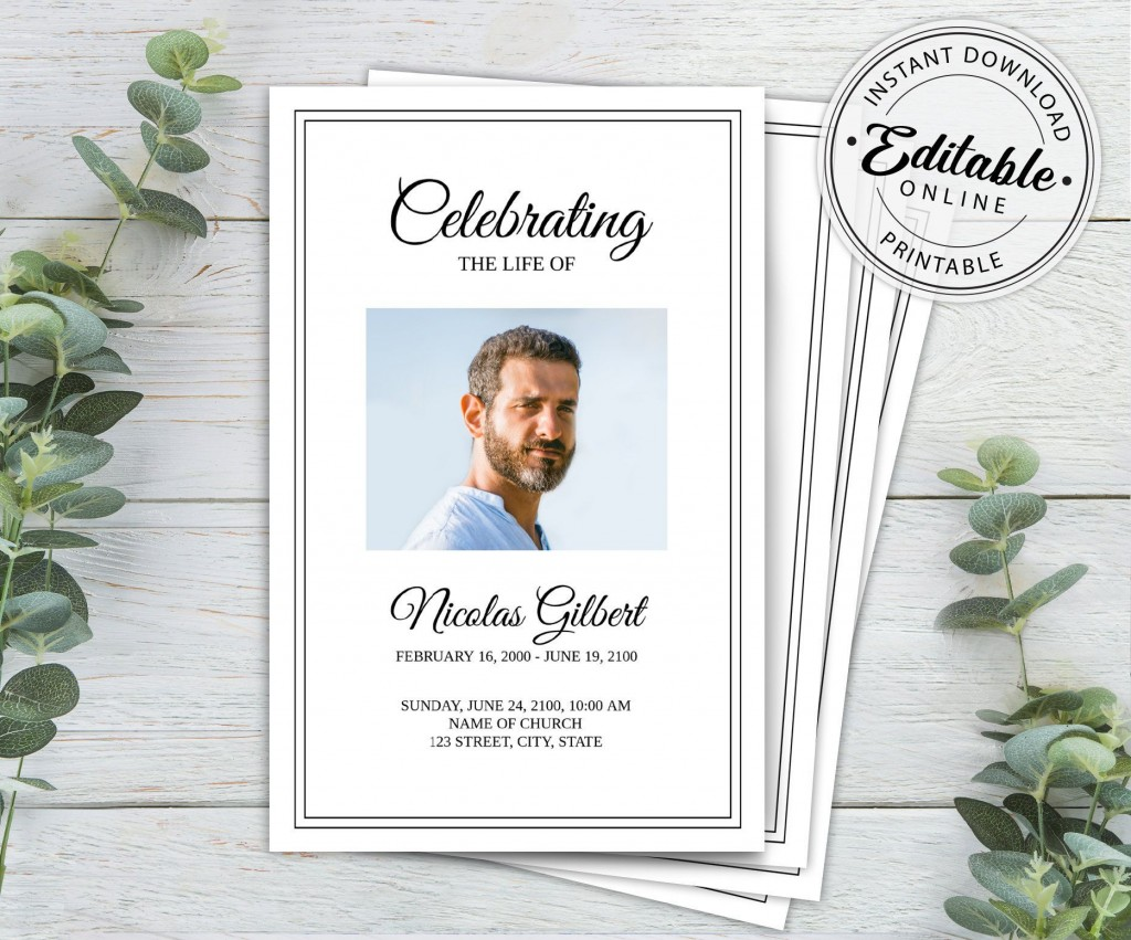 003 Unusual Free Printable Celebration Of Life Program Template Picture Large