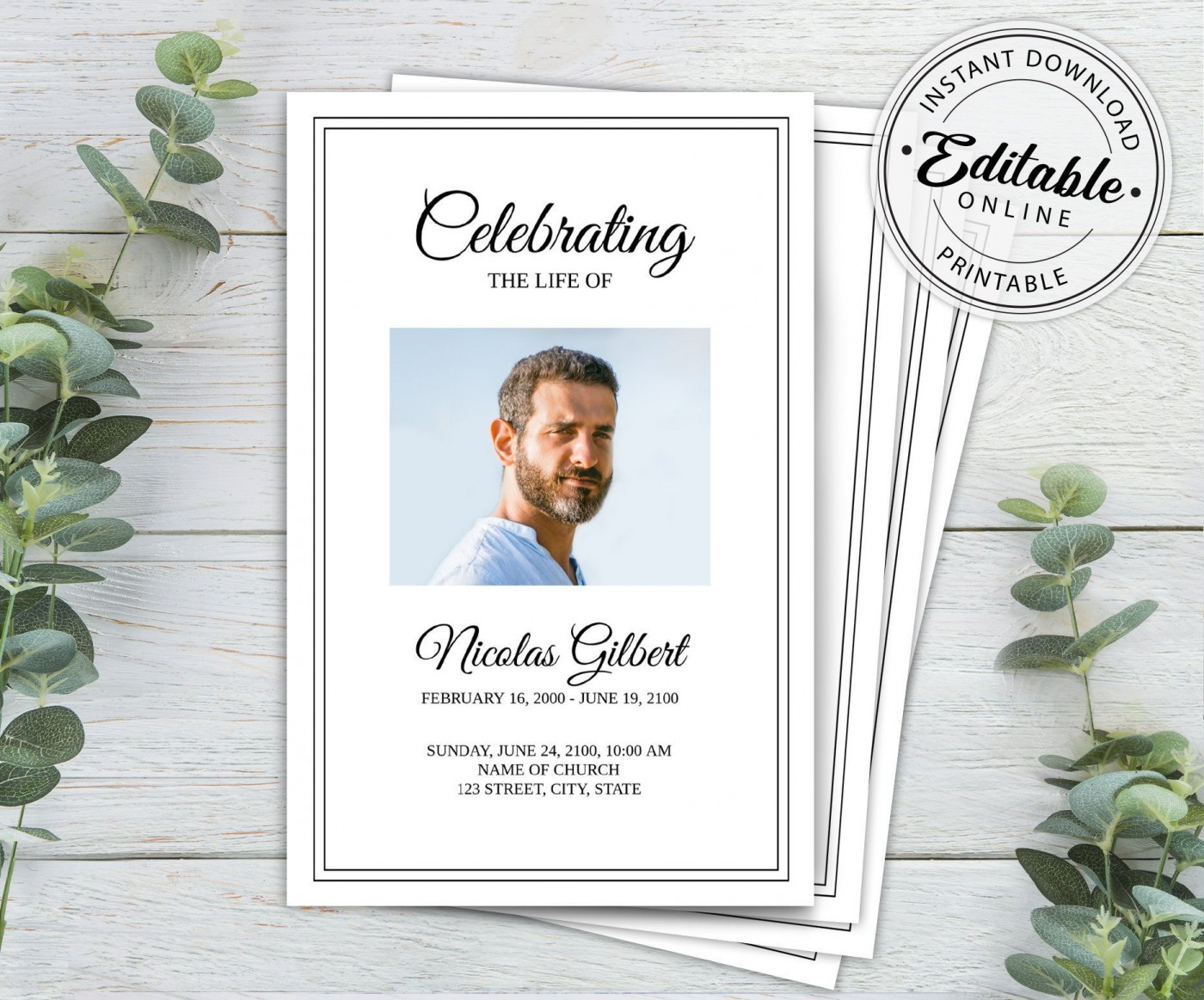 003 Unusual Free Printable Celebration Of Life Program Template Picture 1400