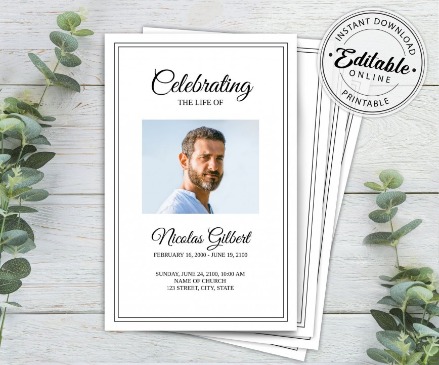 003 Unusual Free Printable Celebration Of Life Program Template Picture 868
