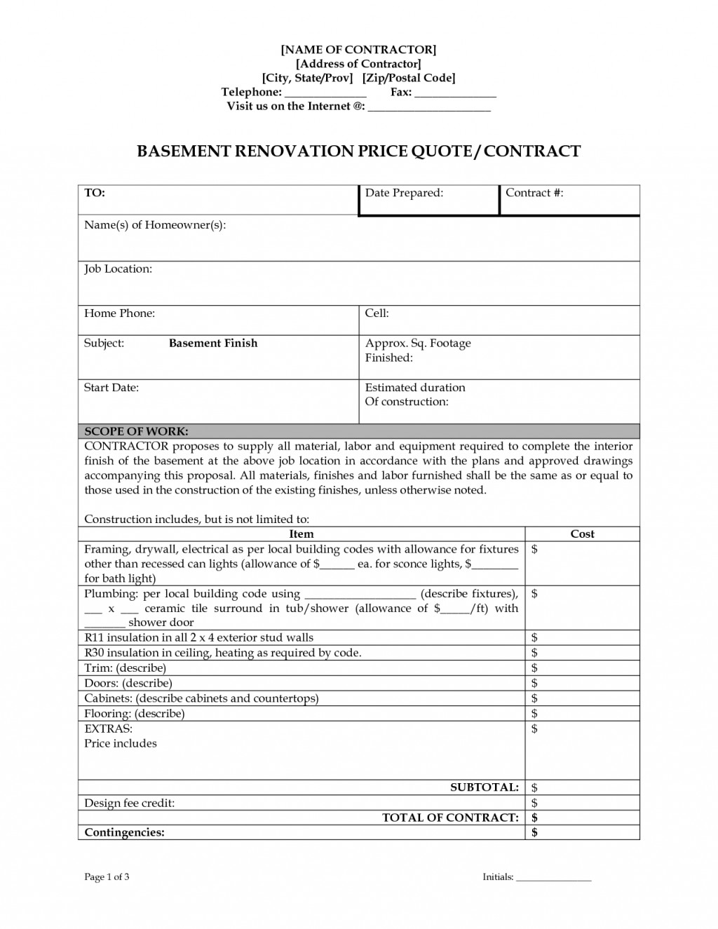 003 Unusual Home Remodeling Contract Template Design  Improvement Example Pdf MarylandLarge