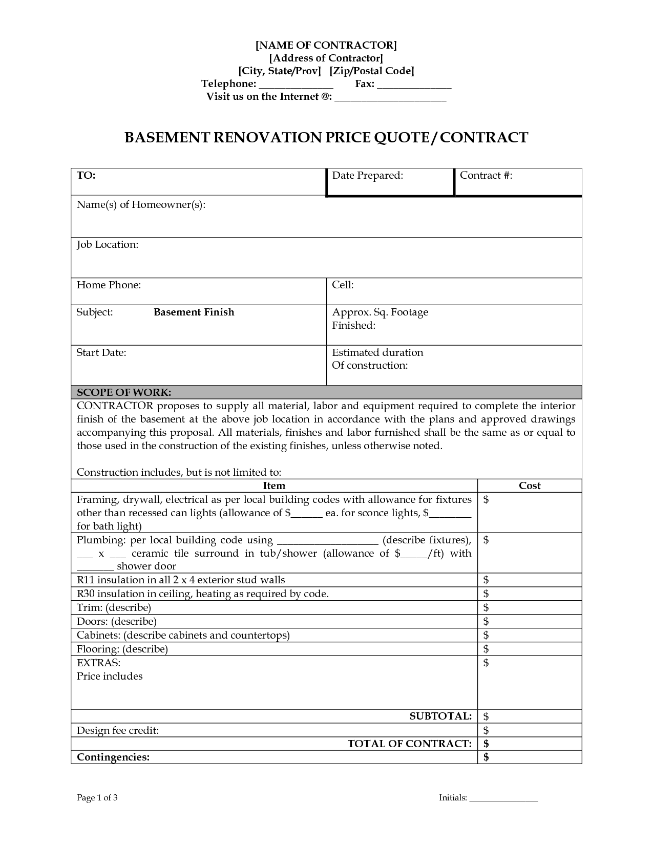 003 Unusual Home Remodeling Contract Template Design  Improvement Example Pdf MarylandFull