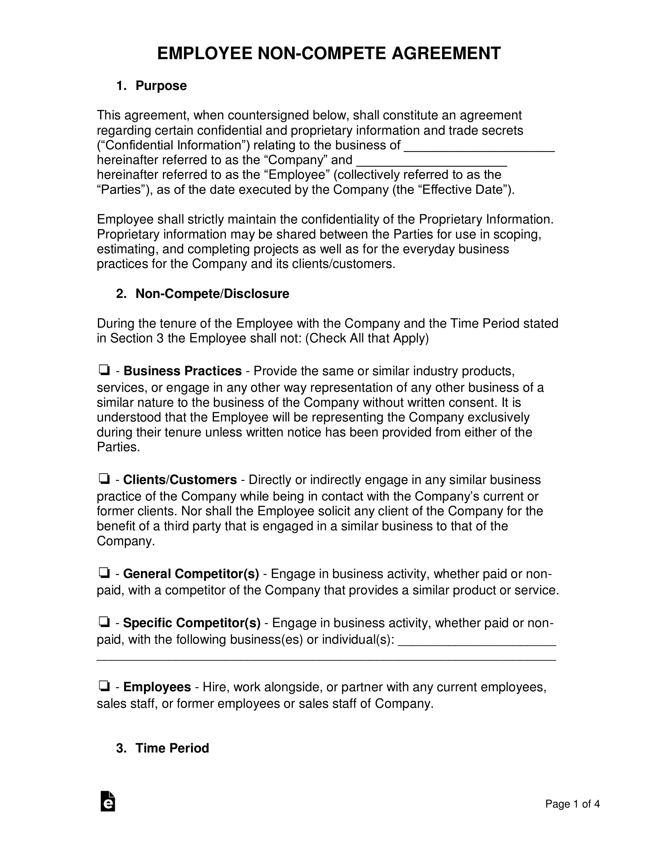 003 Unusual Non Compete Agreement Template Word Highest Clarity  Microsoft Non-compete FreeFull