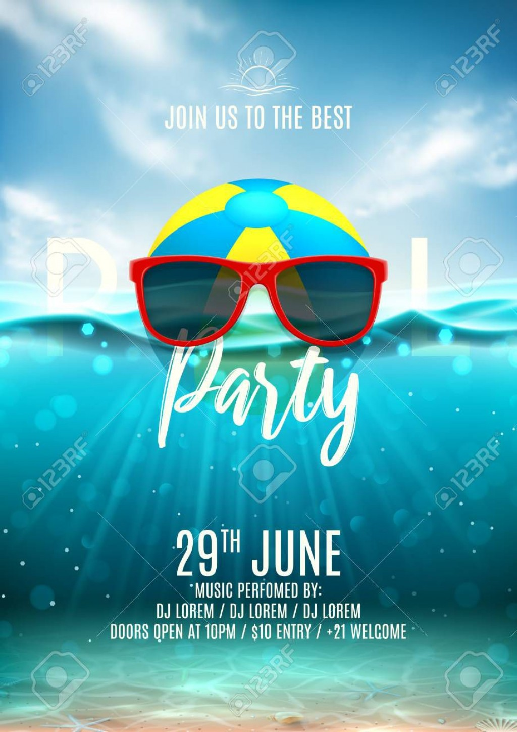 003 Unusual Pool Party Flyer Template Free High Definition  Photoshop PsdLarge
