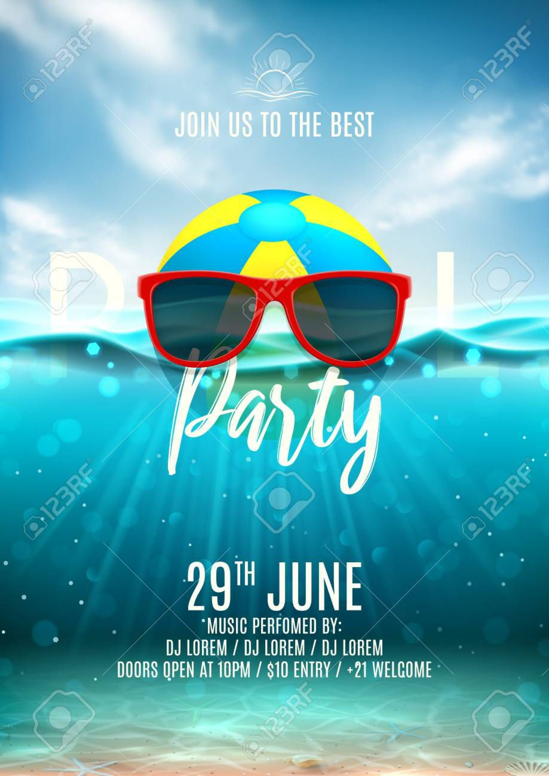 003 Unusual Pool Party Flyer Template Free High Definition  Photoshop Psd1920